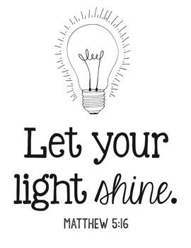 Bible Verse Poster, Let Your Light Shine, Encouragement