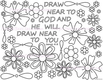 Bible Verse Coloring Page-James 4:8 by The Purple Bee