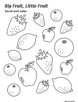 Big Fruit, Little Fruit Coloring Worksheet by Maple Leaf