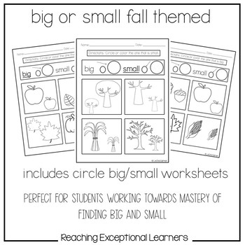 Math Worksheets- Big or Small- Fall Themed- Special
