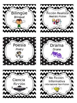 Bilingual Book Genre Labels (Chevron & Polka Dots