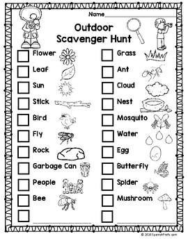 Bilingual Outdoor Scavenger Hunt (Búsqueda de cosas afuera