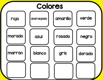 Bilingual Vocabulary Center in English & Spanish by