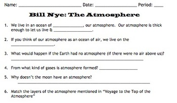 Bill Nye Atmosphere Video Worksheet By Mayberry In Montana