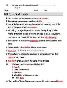 Bill Nye Biodiversity Worksheet : biodiversity, worksheet, Biodiversity, Video, Guide, Sheet