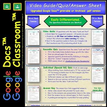 Differentiated Video Worksheet, Quiz & Ans. for Bill Nye