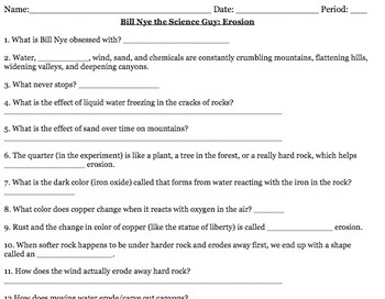 Bill Nye Erosion Video Worksheet by Mayberry in Montana