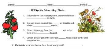 Bill Nye Plants Video Worksheet by Mayberry in Montana