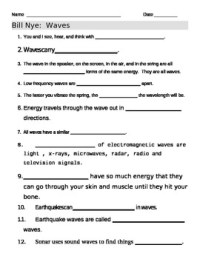 Bill Nye Waves Video Worksheet by jjms