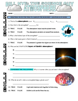Bill Nye The Science Guy Atmosphere Video Worksheet