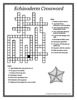 Biodiversity: Echinoderms Overview Notes and Crossword