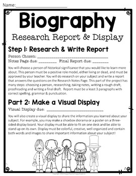 Biography Report W Optional Visual Display Biography Research