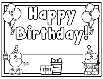 Birthday Certificate by Learning Fun for early elementary