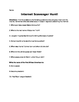 Black History Month Internet Scavenger Hunt by Core