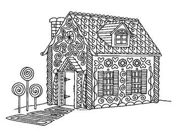 Winter Holiday Gingerbread House Zentangle Coloring Page