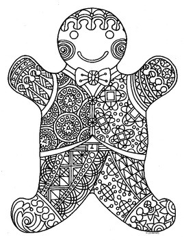 Gingerbread Man Winter Holiday Zentangle Coloring Page by