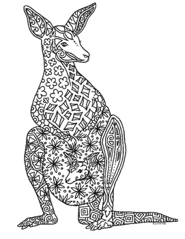 Kangaroo and Joey Zentangle Coloring Page by Pamela