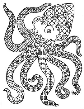 Octopus Sea Creature Zentangle Coloring Page by Pamela