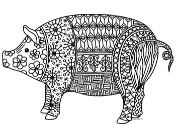 Pig Zentangle Coloring Page: 2019 Chinese New Year by