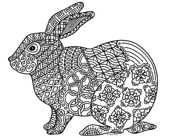Rabbit Zentangle Coloring Page 2023 Chinese New Year By