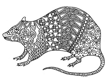 Rat Zentangle Coloring Page: 2020 Chinese New Year by