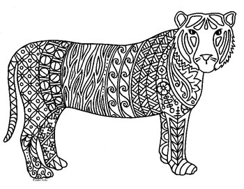 Tiger Zentangle Coloring Page: 2022 Chinese New Year by
