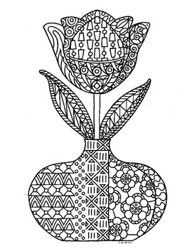 Spring Tulip Flower Zentangle Coloring Page by Pamela