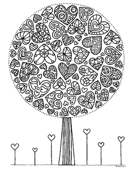 Valentine Heart Tree Zentangle Coloring Page by Pamela