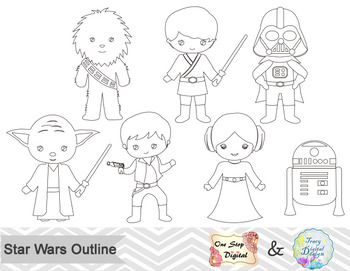 Black White Outline Star Wars Digital Clip Art by