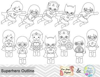 Black White Outline Superhero Girls Digital Clip Art by