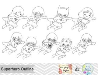 Black White Outline Superhero Girls Digital Clip Art by OneStopDigital