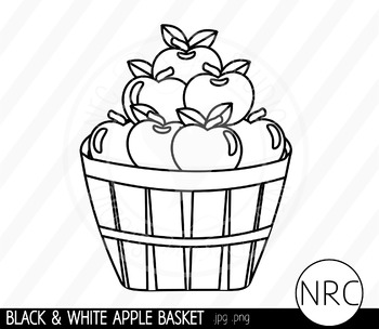 Black and White Apple Basket Clip Art- Commercial Use