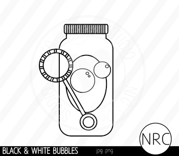 Black and White Blowing Bubbles Clip Art- Commercial Use