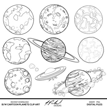 Black and White Cartoon Planets Digital Clip Art by
