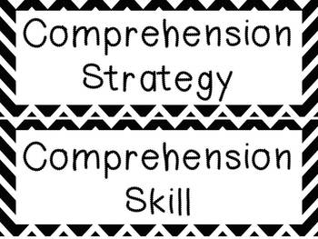 Black and White Chevron Reading Strategies and Skills