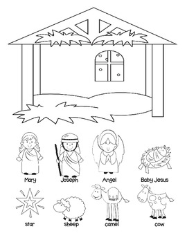 A Sunday School Christmas Nativity Craft Set to color or