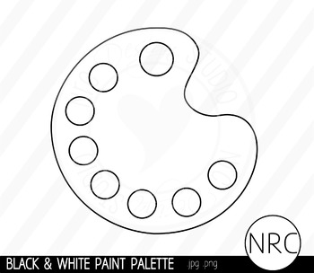 Black and White Paint Palette Clip Art- Commercial Use