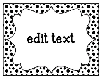 Classroom Supply Labels: Black and White Polka Dot
