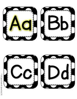 Black and White Polka Dot Word Wall Headers by Special