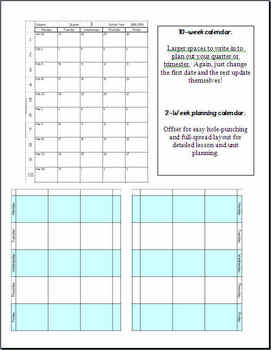 Blank LessonPlan Templates: 2-week, 10-week, and 1-year ...