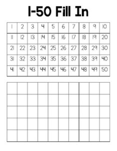 Blank number chart fill in also by the bumbling bee tpt rh teacherspayteachers