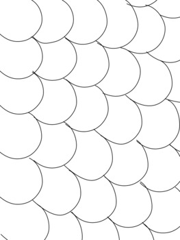 Blank Scalloped/Fin/Scales Patterned Coloring Pages by
