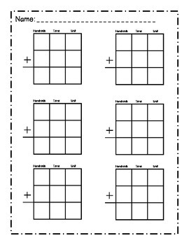 Blank math place value sheet- addition and subtraction by