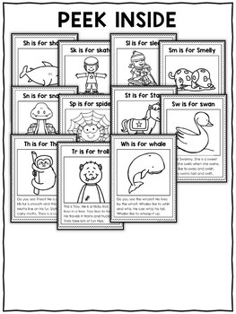 Blend and Digraph Phonics Stories Coloring Sheets by