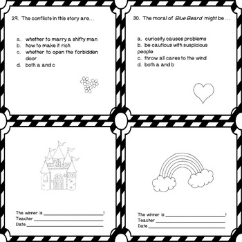 Blue Beard Literacy Comprehension Questions in Black and