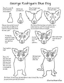 Blue Dog by George Rodrigue Lesson, Drawing Guides and