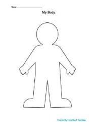 body template worksheet worksheets templates printable kindergarten esl teacherspayteachers grade english
