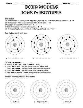 bohr diagram worksheet answer key winnebago industries wiring diagrams model teaching resources teachers pay practice with cations anions and isotopes
