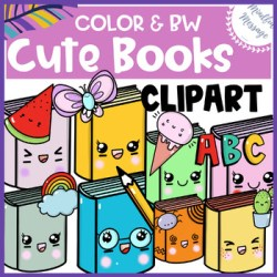 Books Clip Art {Color / Black&White / Transparent Background / PNG}