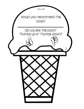 Book Report or Story Element Ice Cream Cone Template by